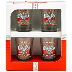 A set of four shot glasses decorated with the Polish eagle on the flag of Poland. Polska and Poland inscriptions above and below the eagle.The set is packed in a decorative and sturdy gift box featuring the Polish national colors, red and white.