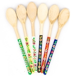 Absolutely delightful and so colorful - Small wooden spoons hand decorated in Polish folk art designs. Assorted colors.  Price is for one spoon.