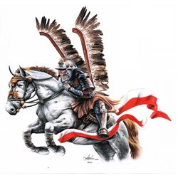 "Charging Polish Winged Hussar sticker. Size approx 19"" x 19"".