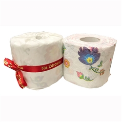 Polish Folk Motif Toilet Paper. Three ply. We wrap each roll in opaque tissue paper and tie it with a Polish ribbon. Made In Poland. Price is per roll.