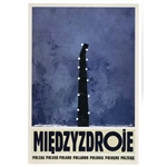 "Post Card: Miedzyzdroje, Polish Tourist Poster designed by artist Ryszard Kaja in 2019. It has now been turned into a post card size 4.75"" x 6.75"" - 12cm x 17cm."