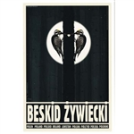 "Post Card: Beskid Zywiecki, Polish Tourist Poster designed by artist Ryszard Kaja in 2019. It has now been turned into a post card size 4.75"" x 6.75"" - 12cm x 17cm."