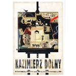 "Post Card: Kazimierz Dolny, Polish Tourist Poster designed by artist Ryszard Kaja in 2019. It has now been turned into a post card size 4.75"" x 6.75"" - 12cm x 17cm."