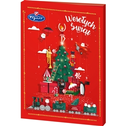 Polish holiday greetings - Wesolych Swiat! 24 days of family holiday tradition for ages 4 to 104! The countdown begins on the first day of December. Open each window day-by-day for 24 days to reveal a real milk chocolate treat. On the back of the box is a