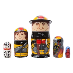 Fireman Doll is just the character to quench the desire of many a young lad who'd like a special nesting doll of his own. This 5 piece doll set features 2 fireman, a fire, their trusty Dalmatian, and a fire hydrant. A special 3-D hat rim on the top doll a