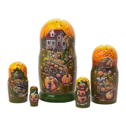 Top-selling artist Irina Kummer skillfully blends hand painting with reproductions of her original paintings to produce a detailed doll at a great price.  Imagine this Thanksgiving nesting doll on your Thanksgiving table. The farmhouse is decked out for a