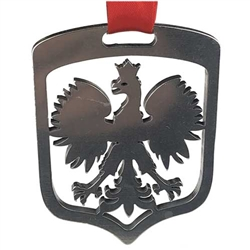 "Polish Eagle cut out of stainless steel and suspended from red Polish Christmas ribbon (Wesolych Swiat - Happy Holidays)  Ornament size is approx 2.25"" x 1.75"" x .125""  Made In Poland"