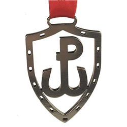 "Polish PW (Polska Walczaca - Fighting Poland) cut out of stainless steel and suspended from red Polish Christmas ribbon (Wesolych Swiat - Happy Holidays)  Ornament size is approx 2.25"" x 1.5"" x .125"". Made In Poland"