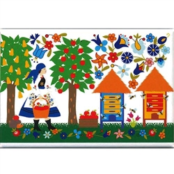 A Polish paper cut scene of a Kashub maiden in the orchard picking apples.  This magnet is about the size of a business card, is non-flexible with a strong magnet.