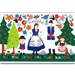 A Polish paper cut scene of a Kashub family at Christmas. This magnet is about the size of a business card, is non-flexible with a strong magnet.