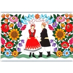 A Polish paper cut scene of a Zalipie couple in traditional costume. This magnet is about the size of a business card, is non-flexible with a strong magnet.