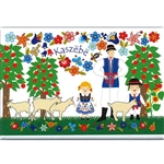 A Polish paper cut scene of a Kashub farmer and children in the orchard. This magnet is about the size of a business card, is non-flexible with a strong magnet.