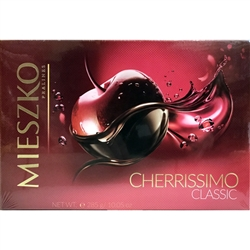 Deluxe box of dark chocolate covered cherries in liqueur. Contains alcohol so these are not for children.