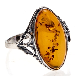 Honey Amber Ring with  Sterling Silver 'Heart' Setting