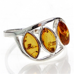 Artistic Three Stone Amber Ring