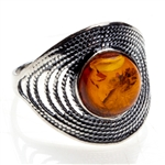 """Amber Swirl"" Sterling Silver Ring. Amber Size approx. .5""."