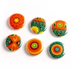 These small pinback buttons are bright and colorful, featuring traditional Polish folk designs. We make these buttons in house, a Polish Art Center exclusive! Set of 6 buttons.