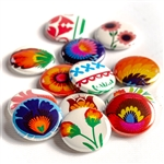 These small pinback buttons are bright and colorful, featuring traditional Polish floral folk designs. We make these buttons in house, a Polish Art Center exclusive! Set of 6 buttons.