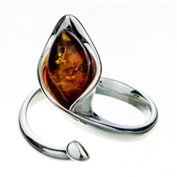 "Cleverly sculpted calla lily sterling silver ring.  Amber size is approx .5"" x .4""."