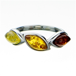 "Three shades of amber set in sterling silver.  Amber size is 1"" x .25""."