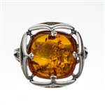 "Gorgeous .5"" square amber cabochon is an artistic sterling silver frame."