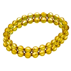 Elastic makes it easy to put on and take off. Bead size is approx 5mm diameter.  This is a double row of clear amber beads connected with gold plated silver connectors.