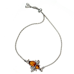 "This adjustable sterling silver bracelet features a silver and amber honey bee. Bracelet can be adjusted to a maximum 8.5"" diameter."