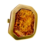 "Sparkling honey amber cabochon set in a gold vermeil adjustable (one time) ring. Size approx. 1.25"" x 1"" x .5""."