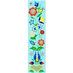 This is a beautiful Kashub floral pattern printed on a bookmark with a blue background.