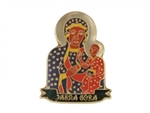 "Gilded metal lapel pin of Our Lady of Czestochowa above the name of the monastary in which the original icon is displayed - Jasna Gora. Tie-tack back.  Size is approx 1.1"" x .75""."
