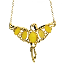 "Stunning display of custard amber in a gold plate over silver setting.  Pendant measures 2"" wide x 1.75"" high with a 17"" adjustable chain."