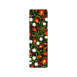 This is a bookmark with a folk motif of Podhale flowers on a green background made of durable PVC, one-sided gloss print. It has a very practical cut-out tab-style bookmark, which allows you to hook the bookmark on the page so that it does not fall out.