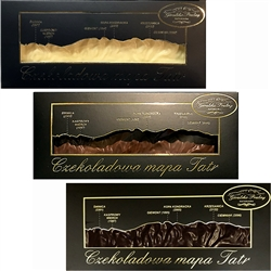 Handmade in Southern Poland this is a dark chocolate bar formed into a map of the Polish Tatry Mountains.  Size of the most famous mountains are listed on the box cover directly over their location on the bar.  Quite a unique gift item.