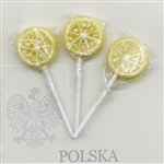 Set of 4, 2 large and 2 small old-fashioned rolled lollipops made in Poland. Lemon and Orange fruit flavored lollipops, each individually wrapped.
