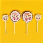 Set of 4, 2 large and 2 small old-fashioned rolled lollipops made in Poland. Cherry fruit flavored lollipops, each individually wrapped.