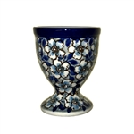 "Polish Pottery Stoneware Egg Cup -Pattern Designed By Teresa Liana. The artist has been connected with the Artistic Handicraft Cooperative ""Artistic Ceramics and Pottery"" since 1983. Since 1992 she has been a pattern designer. Unikat pattern number U4748."