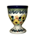 "Polish Pottery Stoneware Egg Cup -Pattern Designed By Teresa Liana. The artist has been connected with the Artistic Handicraft Cooperative ""Artistic Ceramics and Pottery"" since 1983. Since 1992 she has been a pattern designer. Unikat pattern number U4726."