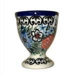 "Polish Pottery Stoneware Egg Cup -Pattern Designed By Teresa Liana. The artist has been connected with the Artistic Handicraft Cooperative ""Artistic Ceramics and Pottery"" since 1983. Since 1992 she has been a pattern designer. Unikat pattern number U4672."