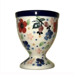 "Polish Pottery Stoneware Egg Cup -Pattern Designed By Teresa Liana. The artist has been connected with the Artistic Handicraft Cooperative ""Artistic Ceramics and Pottery"" since 1983. Since 1992 she has been a pattern designer. Unikat pattern number U4794."