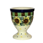 "Polish Pottery Stoneware Egg Cup -Pattern Designed By Teresa Liana. The artist has been connected with the Artistic Handicraft Cooperative ""Artistic Ceramics and Pottery"" since 1983. Since 1992 she has been a pattern designer. Unikat pattern number U4740."