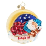 All is calm, all is bright. Celebrate baby's 1st Christmas with Santa, fast asleep under a starry Christmas sky.