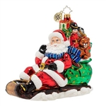 Santa took one look at the traffic and opted to take out his favorite toboggan. He knows all the shortcuts by heart, so he'll make his deliveries right on schedule. He almost forgot just how much fun zooming downhill is—with the wind in his beard, he near