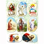 "Set of 8 Religious Easter stickers. Sheet size is 6.25"" x 4.5"""