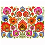 Flowers All Around Note Card And Envelope. Lowicz wycinanki paper cutout flower detail this card