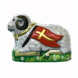 "Milk Chocolate Easter Lamb with decorated foil  and the resurrection flag in a meadow of spring flowers. Made in Poland.   Size is approx 4.5"" L  x  1.5"" W x 3.5"" H   Perfect for the Easter table and as a gift."