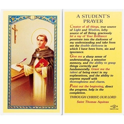 Polish Art Center - A Student's Prayer - Holy Card.  Plastic Coated. Picture and prayer is on the front, text is on the back of the card.