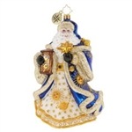 Even Santa needs his space. This celestial Santa holds the sands of time while sporting a regal coat laced with the sun, the moon, and the stars.