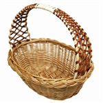 Poland is famous for hand made willow baskets. This model is a beautifully woven lattice work handle using 2 shades of willow  Beautifully crafted and sturdy, these baskets can last a generation.  Perfect for Easter,