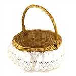 "Dress your Easter basket in beautiful traditional skirting.  Stretch band at the top.  Fits smaller baskets up to 15"" in diameter or oval baskets that measure up to 26"" around the outside.  Please note basket in this picture is not included."