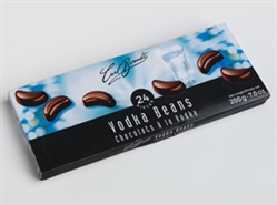 Brandt's liqueur filled pralines combine rich bittersweet chocolate and a shot of liqueur. Vodka Beans stand out in attractive gift boxes and embrace pure delicious indulgence – a gift that will be remembered.. 24 pieces in the box.